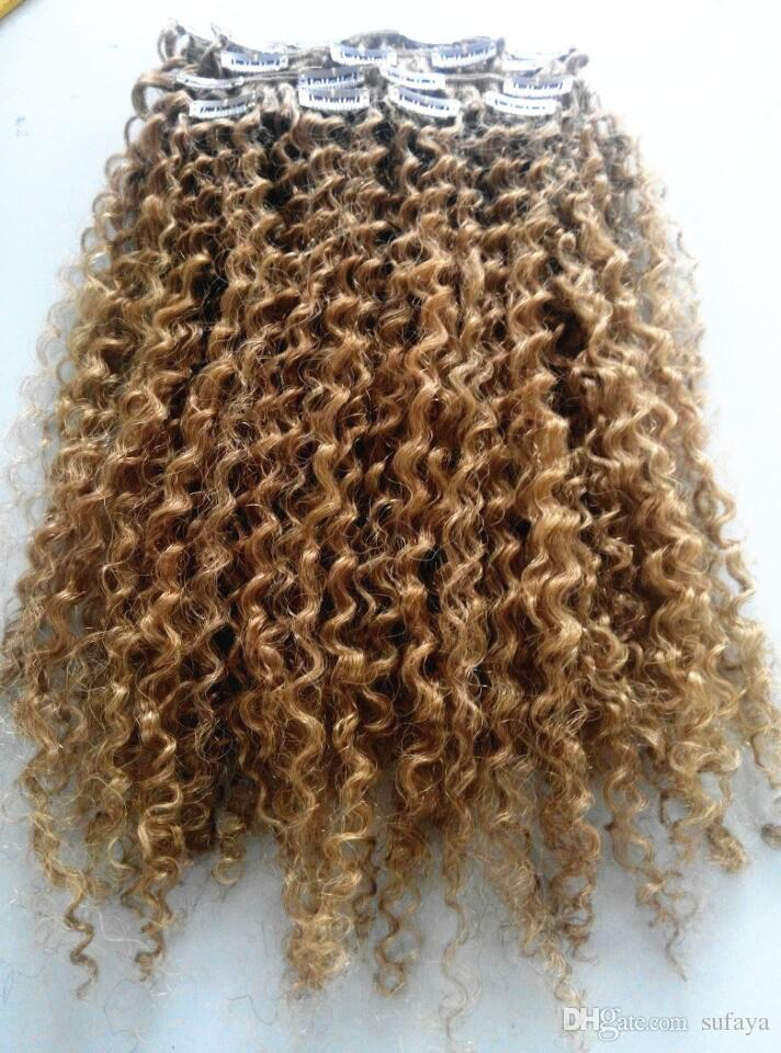 brazilian human virgin remy curly hair weft natural curl weaves unprocessed blonde 270# double drawn clip in extensions