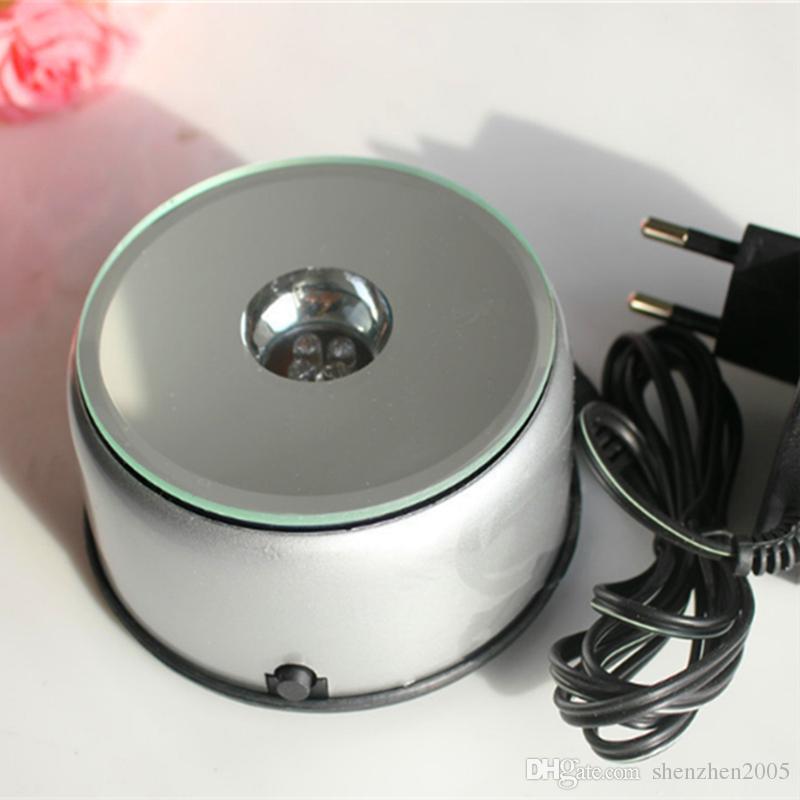 7 LED 조명 스탠드 턴테이블 회전베이스 고유 360도 회전 실버 크리스탈 디스플레이베이스 스탠드 7 색 고품질 LED 빛