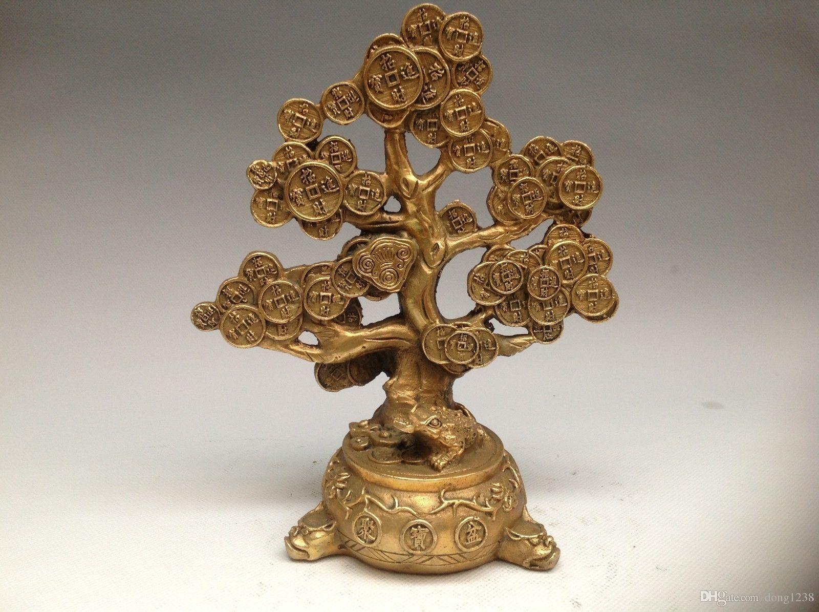 Çin Bronz Bakır Feng shui Şanslı Servet Para YuanBao Para Ağacı Heykeli