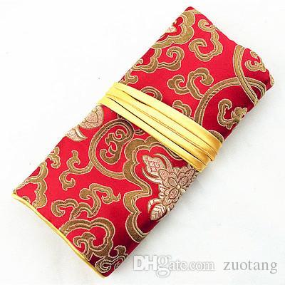 Ensemble de bijoux pliable Voyage Roll Up Bag avec 3 poche à glissière Brocade de soie Cordon Emballage Cosmetic Maquillage Pochette de rangement pochette d'embrayage