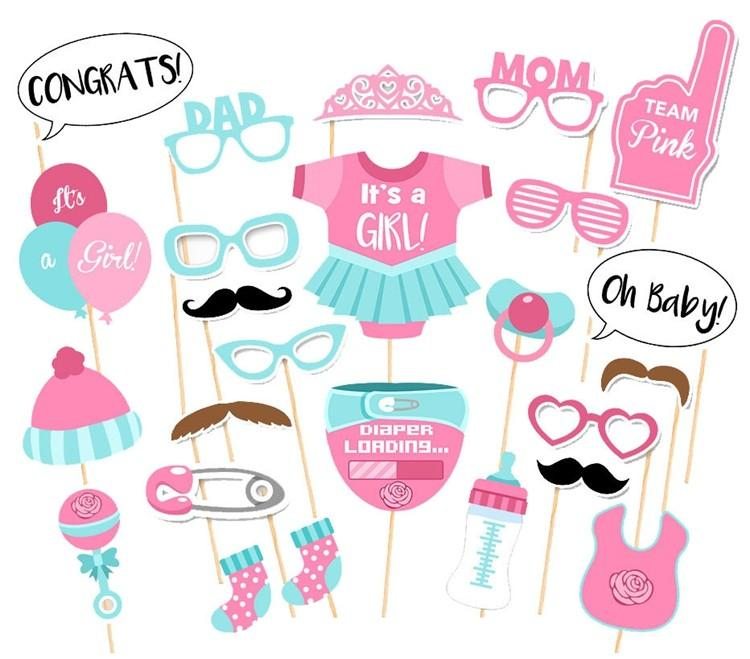 1set It/'s a Boy Girl Photo Booth Props 1st One Birthday Photobooth Party Props D