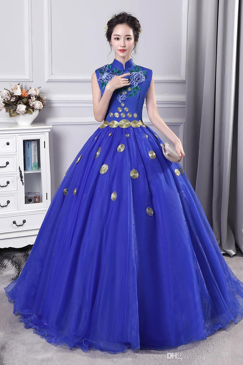 100% reale royal blue flower stand colletto ricamo carnevale ball gown medievale abito abito rinascimentale regina cosplay vittoriano / Marie Belle