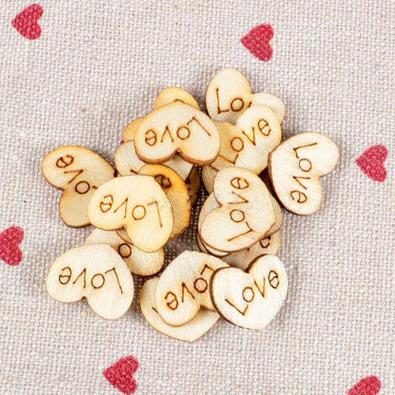 Wholesale- 100PCS Wood crafts heart love blank unfinished natural supplies wedding ornaments Free Shipping