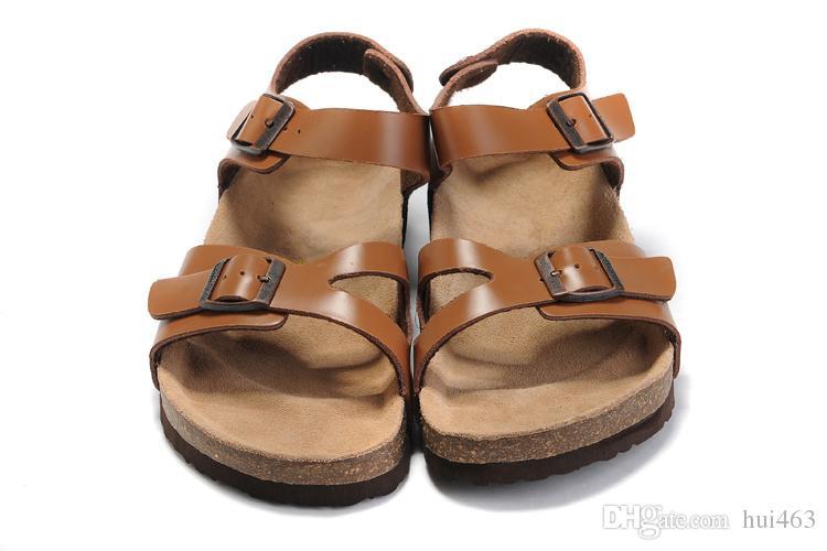 Известный бренд Аризона плоские сандалии мужчины женская обувь Женская двойная пряжка классика Гладиатор тапочки из натуральной кожи тапочки с оригинальной коробкой