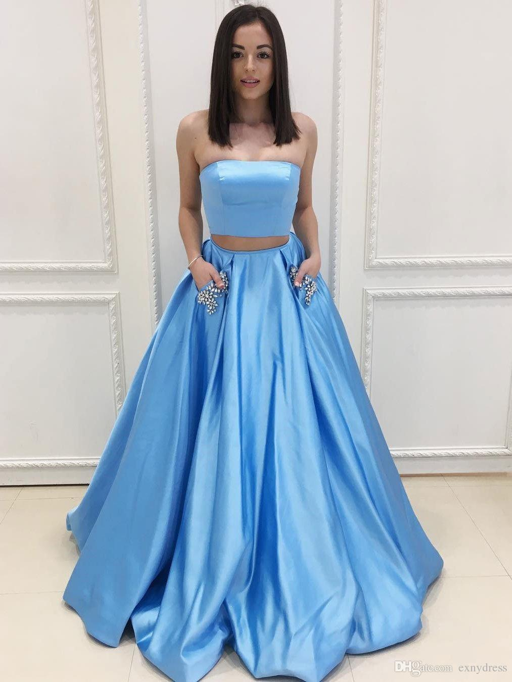 A Line Strapless Sky Blue Satin Long Prom Dresses With Pocket ...