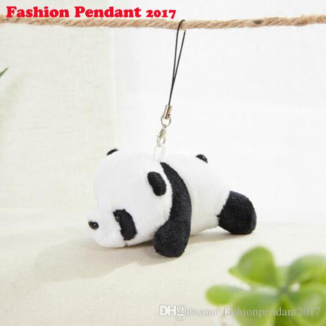 50pcs Kawaii Panda Simulation With Chain Stuffed Plush Small Pendant By Phone Bag Pandas Doll Baby Toy Gifts For Children