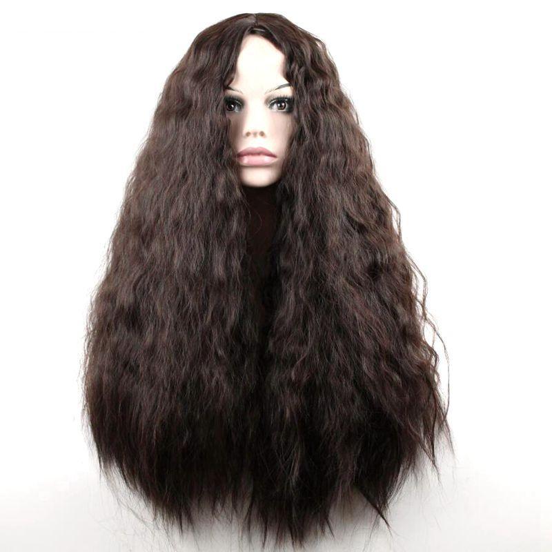 """24 """"Longue perruque frisée synthétique de cheveux de fibre de hautes températures synthétiques Longue / Perruque mélangée de femmes de Cosplay de Brown"""