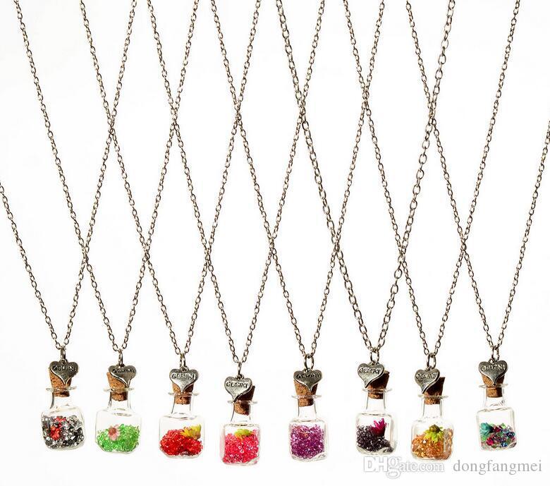 Хороший A ++ DIY сухой цветок дрейф бутылки ожерелье квадратный стеклянный бутылка хрустальные кулонные орнаменты WFN287 (с цепью) смешать Заказать 20 штук