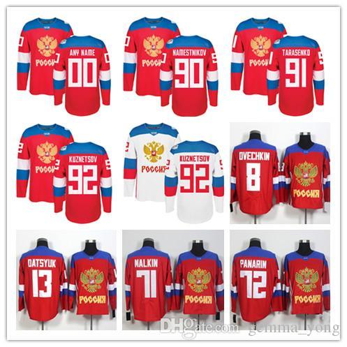 Equipe Rússia Hóquei 8 Alex Ovechkin 72 Artemi Panarin 91 Vladimir Tarasenko 71 Evgeni Malkin 13 Pavel Datsyuk 2016 Copa do Mundo de Camisas Vermelhas