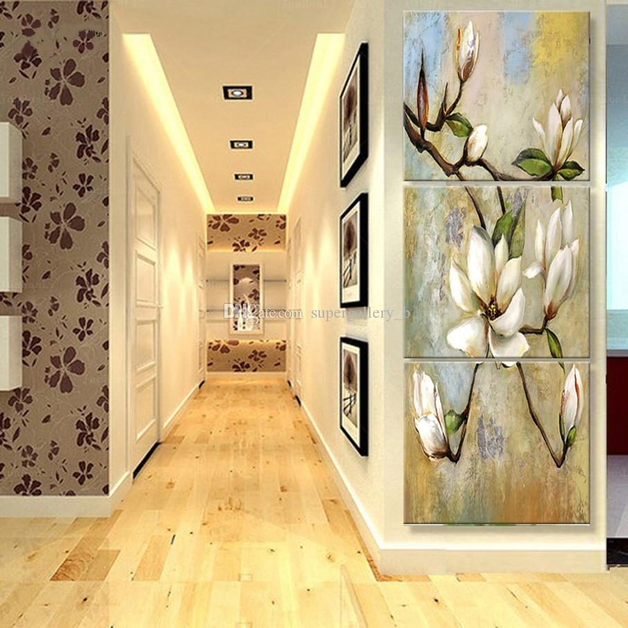 3Panel Van Gogh Mão pura pintada a óleo abstrata Arte Moderna pintura de flores de damasco, Home Decor parede em tamanho lona de alta qualidade pode personalizado