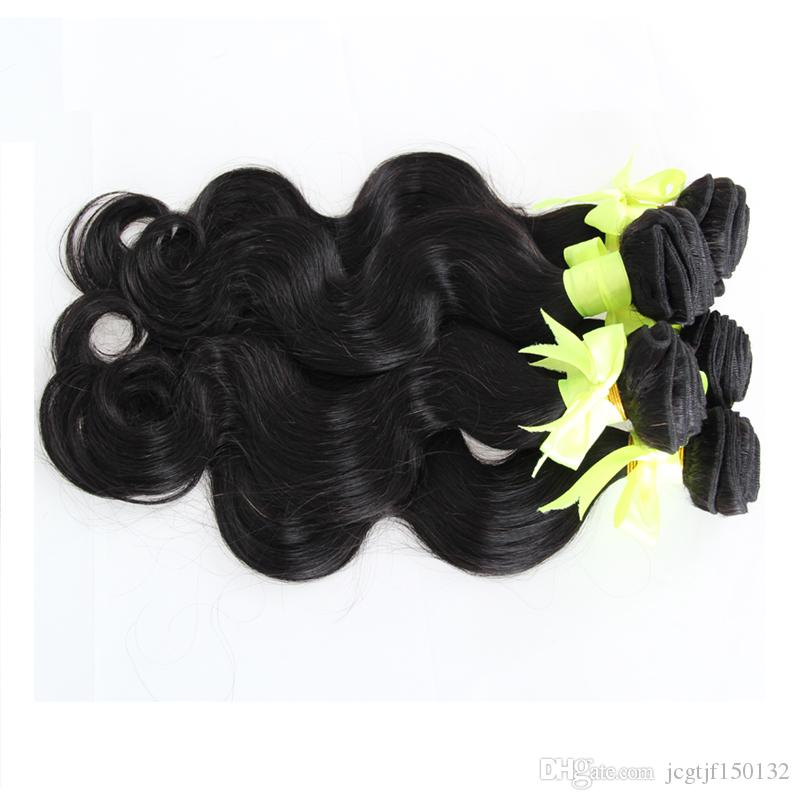 Wholesale Brazilian human hair weave bundles Natural Black 5pcs brazilian body wave virgin hair bundles double drawn,No shedding,tangle free