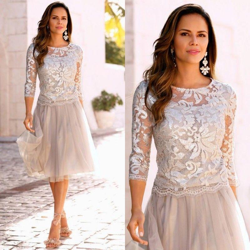 Mutter der Braut Formelle kurze Kleider Illusion Pailletten mit Rundhalsausschnitt Verziertes Oberteil 3/4 Transparente Ärmel Knielanges Hochzeitsgastkleid