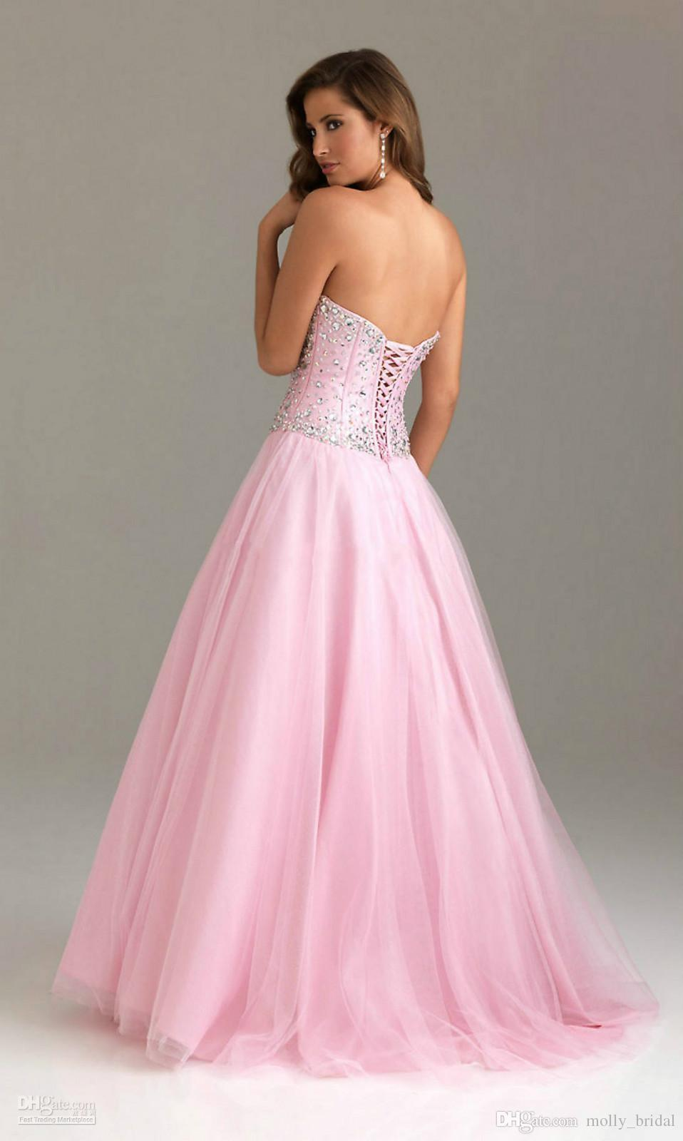 Crystals Prom Dress Cheap Price Sweetheart Neck Customize Lace Up ...