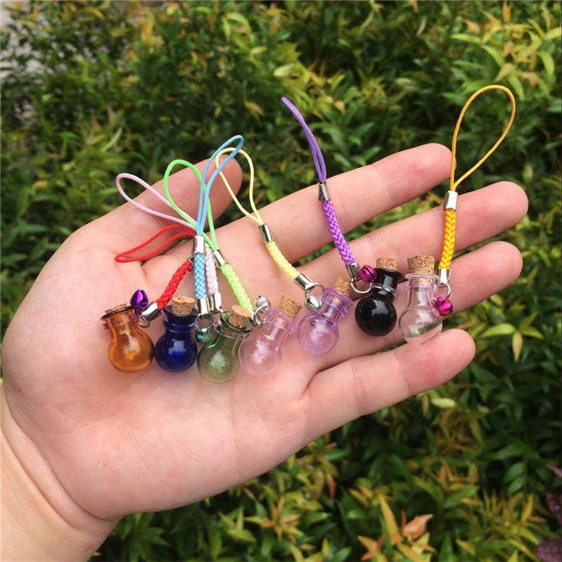 Bottles Lamp Shape Pendants Mini Bell Bracelets Bottles with Key Chains Jars Glass Pendants Wedding Gift Mixed Colors