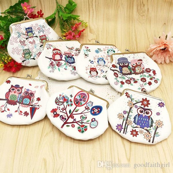100pcs Fashion PU leather key purse Portable cute Owl shape Clutch Bag Handbag mini Coin change Purse Animal Graphic Wallet Christmas Gift