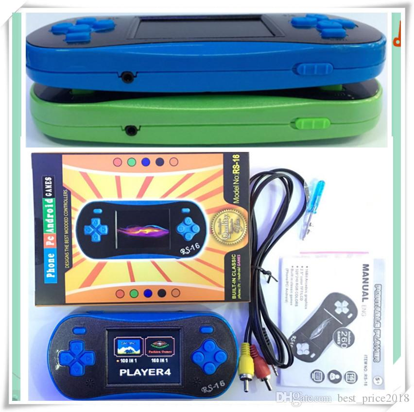 Hot RS-16 Game Consoles Mini Portable Mini Game Player Kids Children Toy 260 Clasic Games TV Out