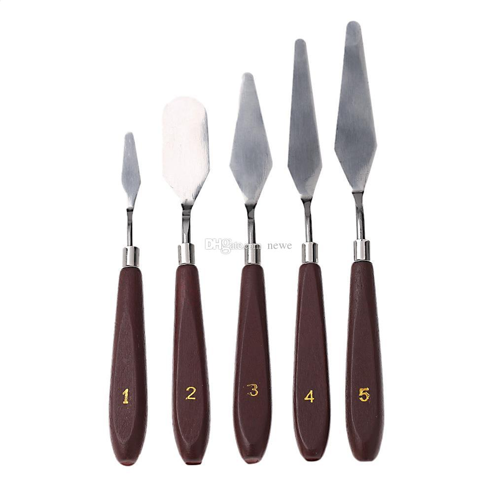 New Arrive 5pcs/set Stainless Steel Palette Knife set Mixed Scraper Set Spatula Knives for Artist Oil Painting