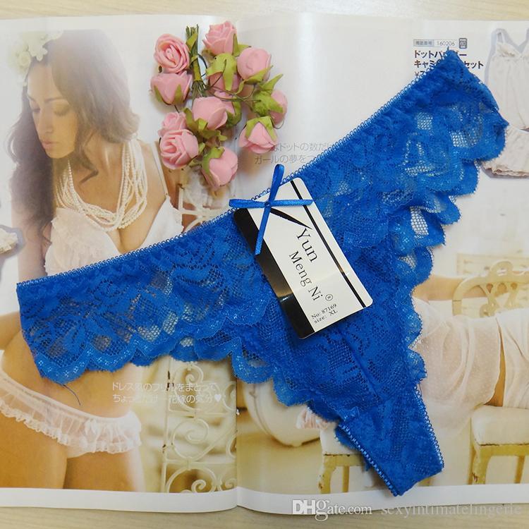 C-String Frauen Blau Transparent Tanga Spitze Unterwäsche Dessous Panty S//M//L