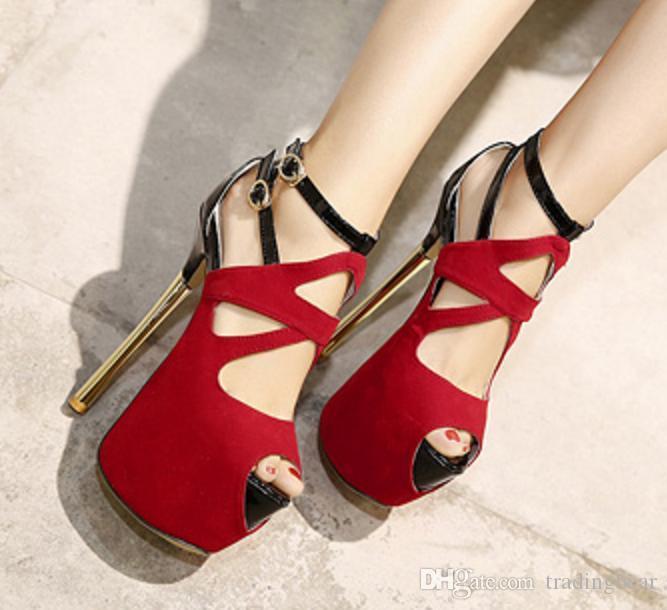 Super High Heels mariage Chaussures Spartiates Super High Talon évider Rouge Noir cheville Bootie