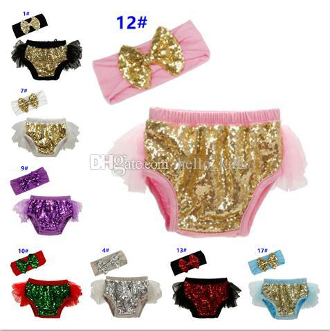 Baby Diaper Covers Bloomers Girls Christmas Ruffle Shorts Red Girl Sequin Headbands+Short 2pcs Sets Boutique Clothing Newborn Clothes Tulle