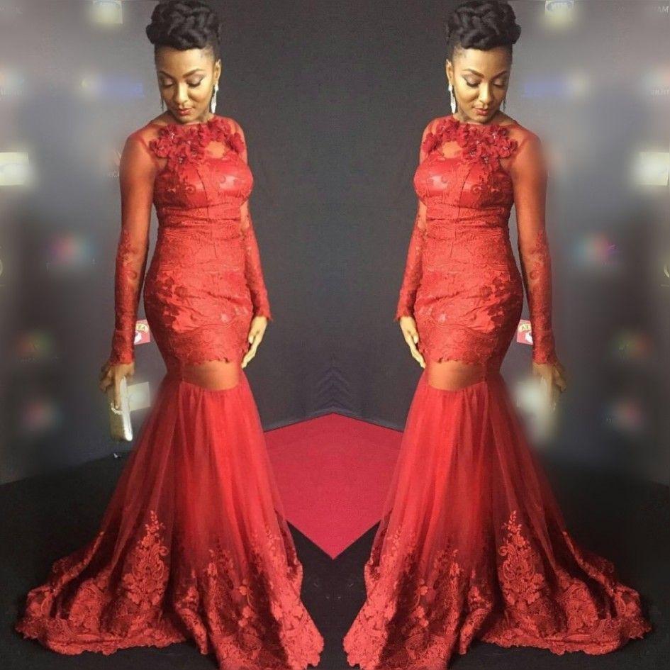 Robes de bal de sirène sud-africaines rouges 2018 appliques en dentelle transparentes à manches longues voir au-dessus des robes de soirée robe de soirée en tulle balayage