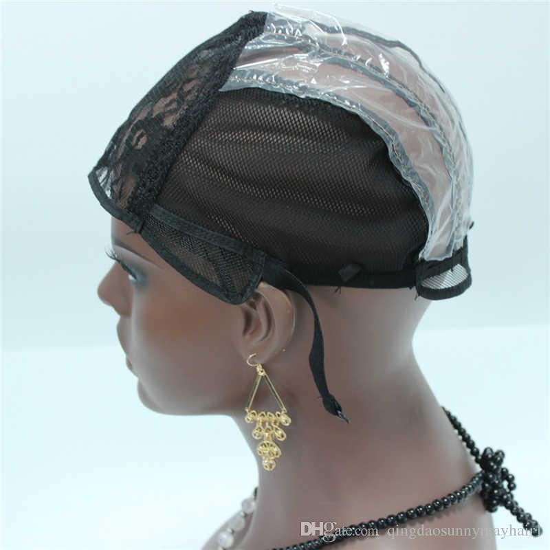 3pc / lot spinnende Kappe maschinell gemachte mittlere schwarze Farbe Perücke-Kappen für die Herstellung der spinnenden Perücken mit justierbarem Bügel auf der Rückseite