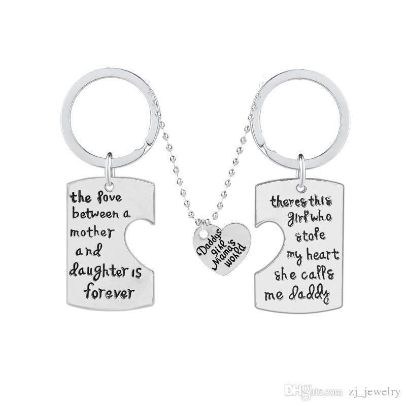 """3pcs/1set """"Daddy's Girl Mama's World""""Heart Shape Dog Tag Keychain&Necklace Silver Mother Daughter Father Family Jewelry Gift"""