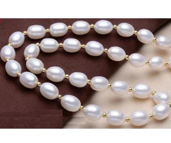Z7807 4 strds 7 mm Riz Blanc eau douce perle aigue-marine pierre concassée Collier 1