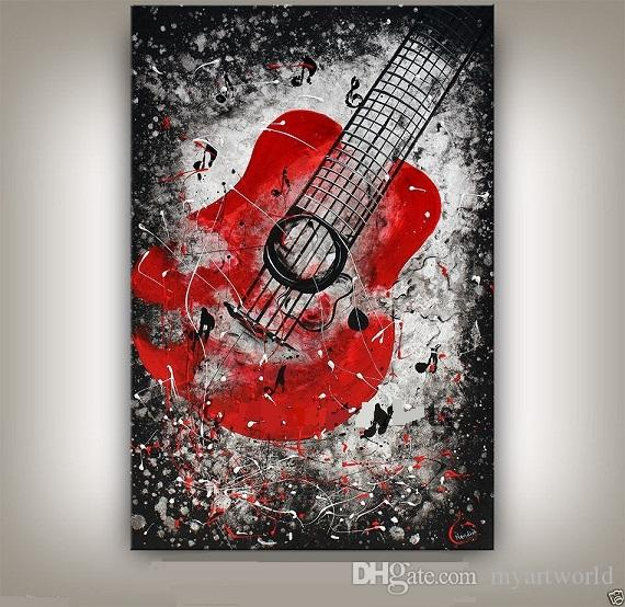 Framed MUSIC ART Large Guitar Painting CONTEMPORARY Art Jazz Guitar Artwork Oil Painting On Quality canvas Free Shipping,Multi sizes Ab049