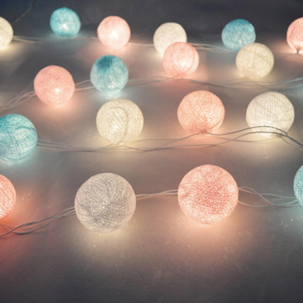 purchase cheap 698c1 ffa85 Wholesale 20 LED Fabric Cotton Ball String Fairy Lights Party Wedding  Holiday Home Decorations Lamp Bulb Colorful Lights With US Plug Patio Light  ...