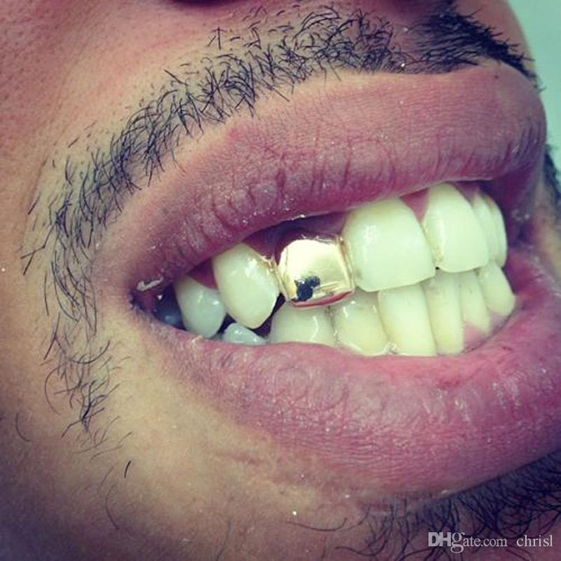 HIPHOP Custom Gold Plated Single Tooth Cap Hip Hop Jewelry Braces Rap Singer Jewelry Teeth Sets Wholesale