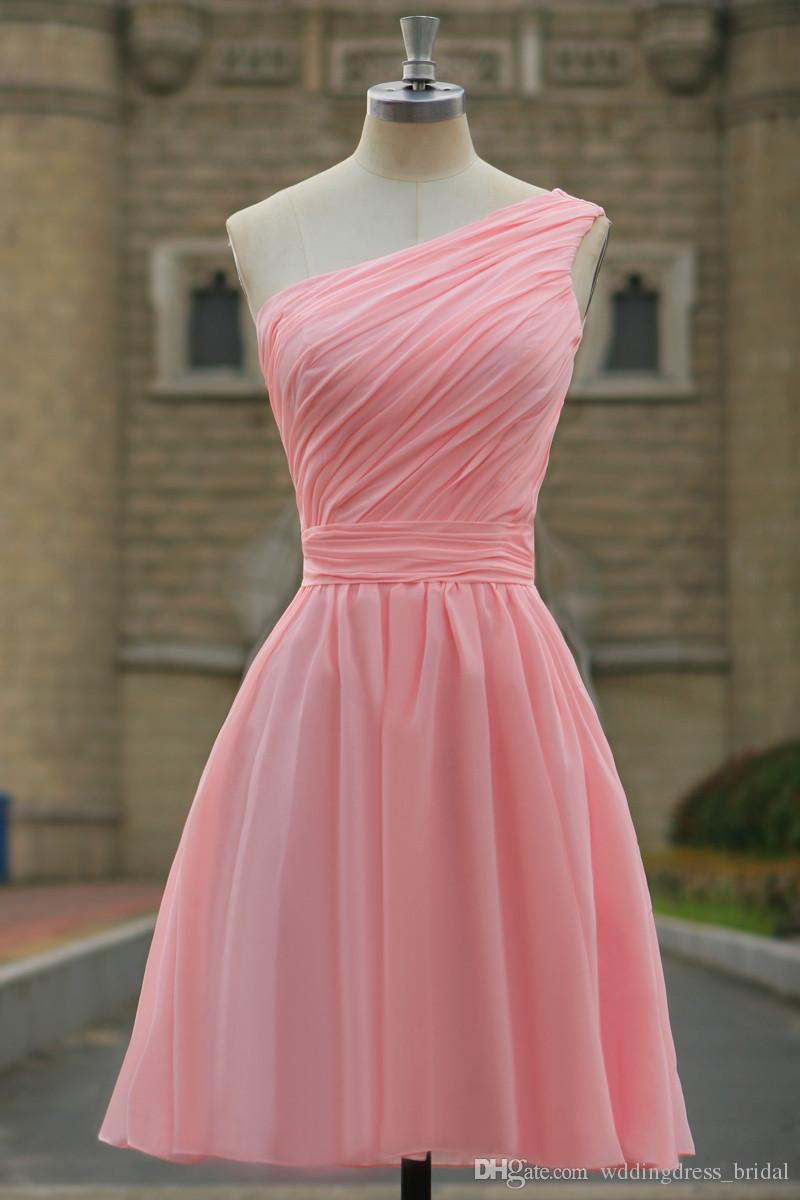 Compre Vestidos De Fiesta Cortos Color Rosa 2019 Vestido Cortos De Graduacion Vestidos De Dama De Honor Sin Respaldo Gasa Fruncida A 10421 Del