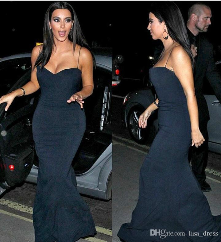 Livraison Gratuite Robes Kim Kardashian Robes De Soirée Sirène Chérie Spaghetti Bretelles Noir Plancher Longueur Longue Tapis Rouge