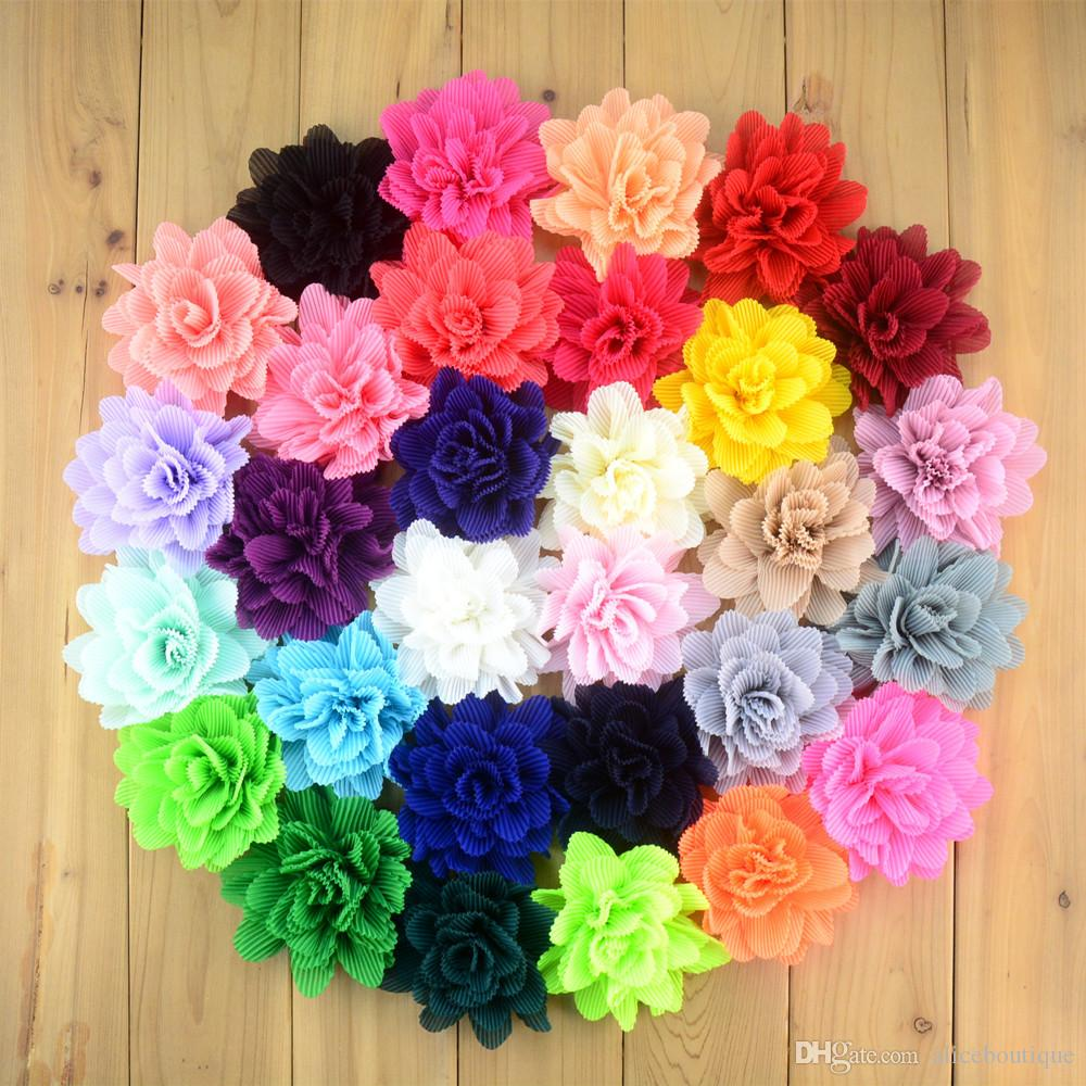 free shipping 30pcs/lot new fashion korean Folded Chiffon Fabric Flower Without Clips For Baby Girls Hair Accessories Hand Craft DIY H0243