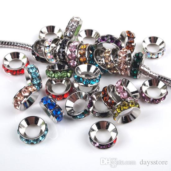 Toptan 100 adet Karışık Renkler Rhinestone Kristal Rondelle Paspayı Avrupa Büyük Delik Boncuk Fit Charms Bilezikler 10x4mm