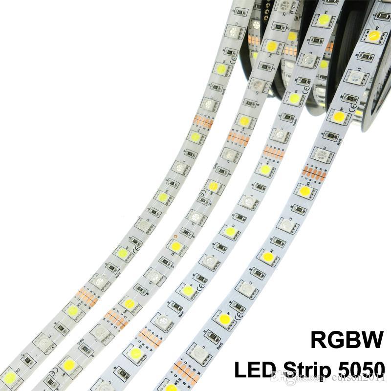Edison2011 5M SMD 5050 RGB + 흰색 / 따뜻한 백색 LED 스트립 300 LED 방수 튜브 12V DC 60LED / M 무료 DHL