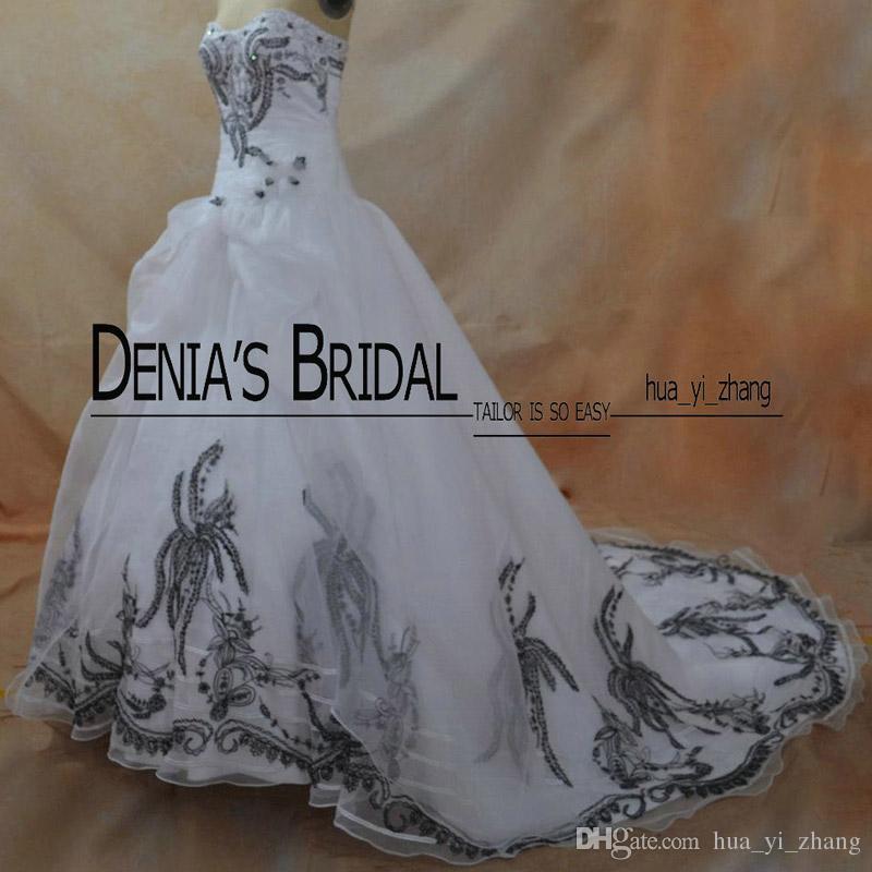 2016 Vintage blanc et noir broderie robes de mariée Real Images Organza Sweetheart Hotfix Strass Perlé avec des fleurs 3D robe de mariée