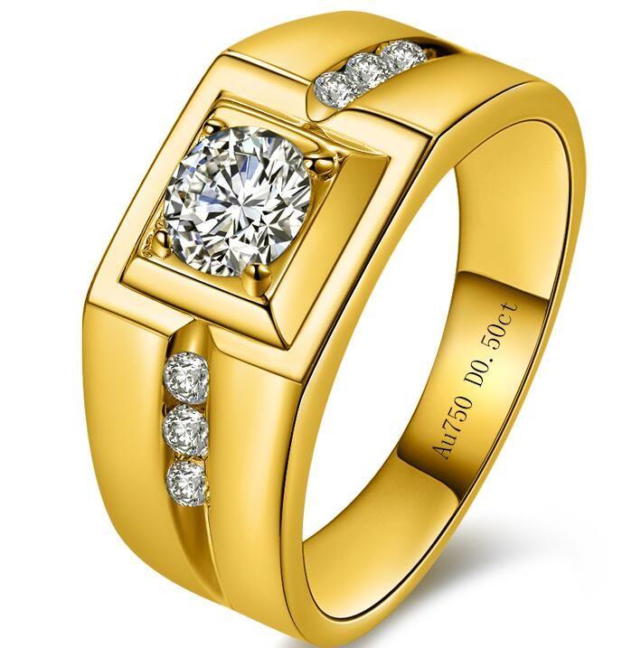 Высококачественный автомобиль Diamond 24K позолоченное кольцо с человеком властный тиран супер блестящие синтетические алмазные мужские кольца