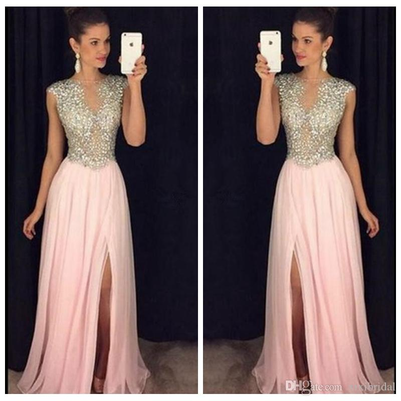 2017 Beautiful Pink Long Prom Dresses Crystals Beading Bodice See Through A Line Side Slit Evening Dress Party Chiffon Gowns