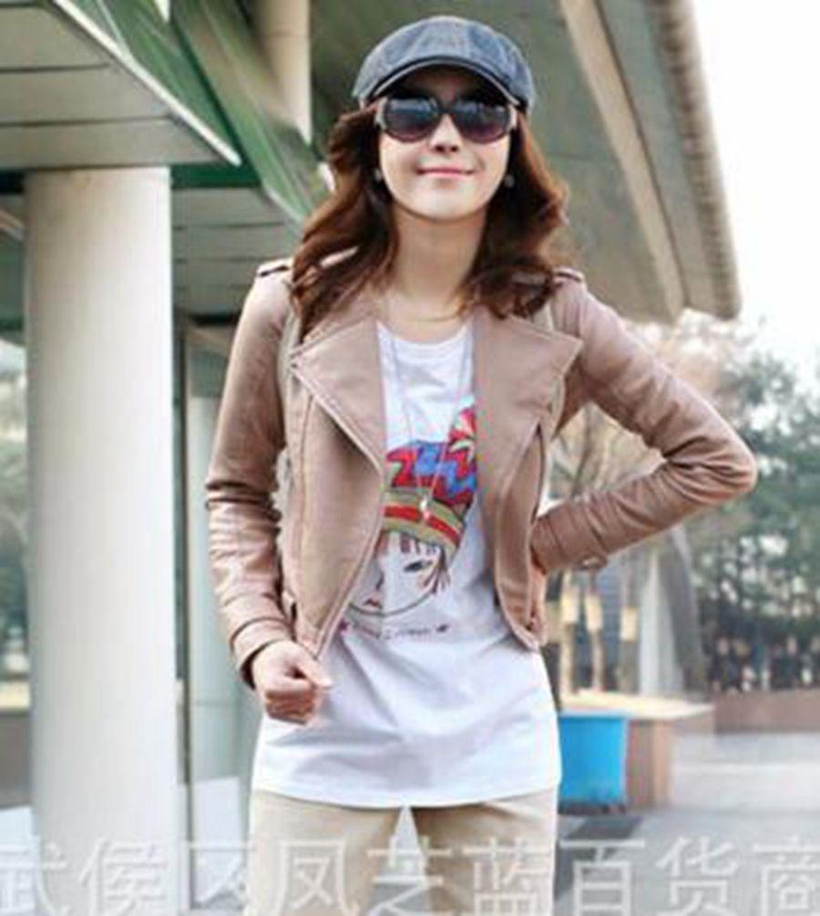 Han business business inglese donne tempo libero moda nuova moda boutique personalità locomotiva cappotto di pelle con revers / S-3XL