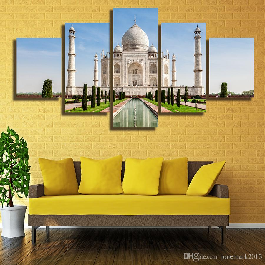 5 Pcs/Set Framed HD Printed The Taj Mahal In India Picture Wall Art Canvas Print Decor Poster Canvas Modern Oil Painting