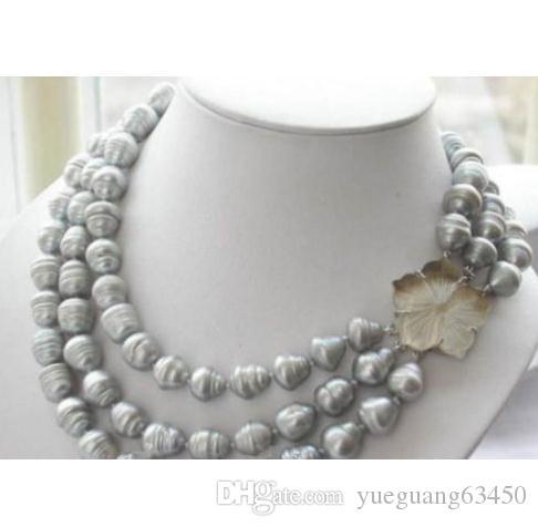 3 Stränge 11-13mm natürliche Südsee grau Barock Perlenkette 18-20 Zoll