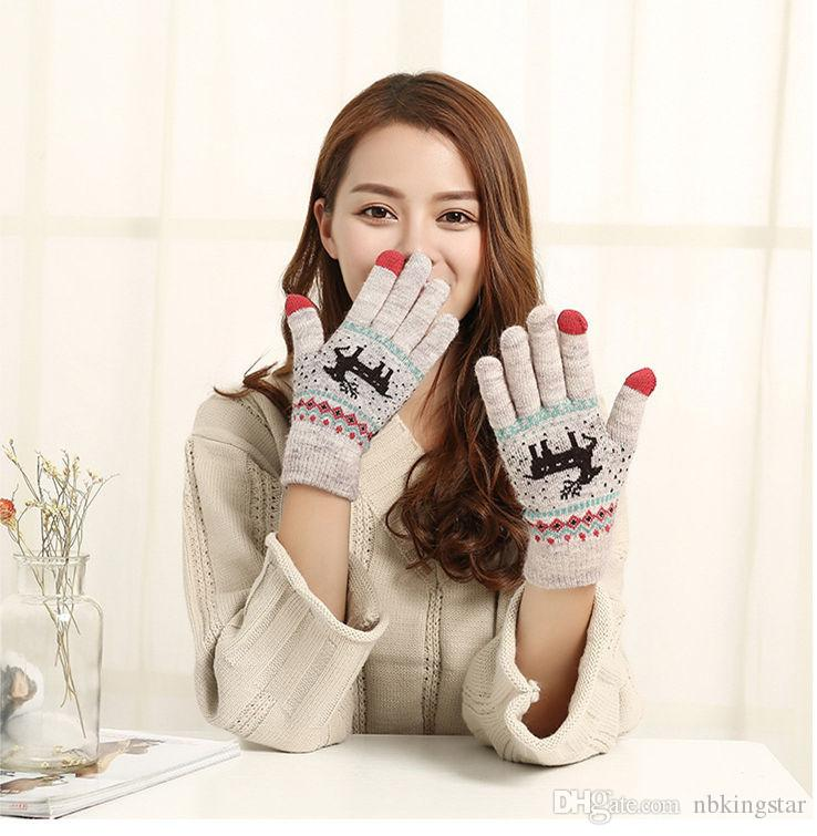 Winter Warm Touch Screen Five Fingers Gloves Cute Deer Christmas Gifts Knitted Glove For Women 12pairs/lot