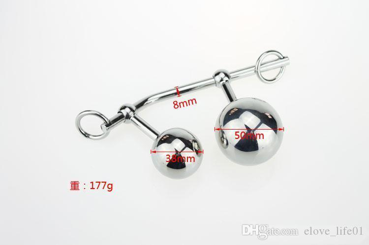 Para el enchufe de sexo de acero Productos inoxidables Sex Metal Plug Toys Toys Toys Butt 2 Incluye parejas Anal Ball Erotic RKFAW