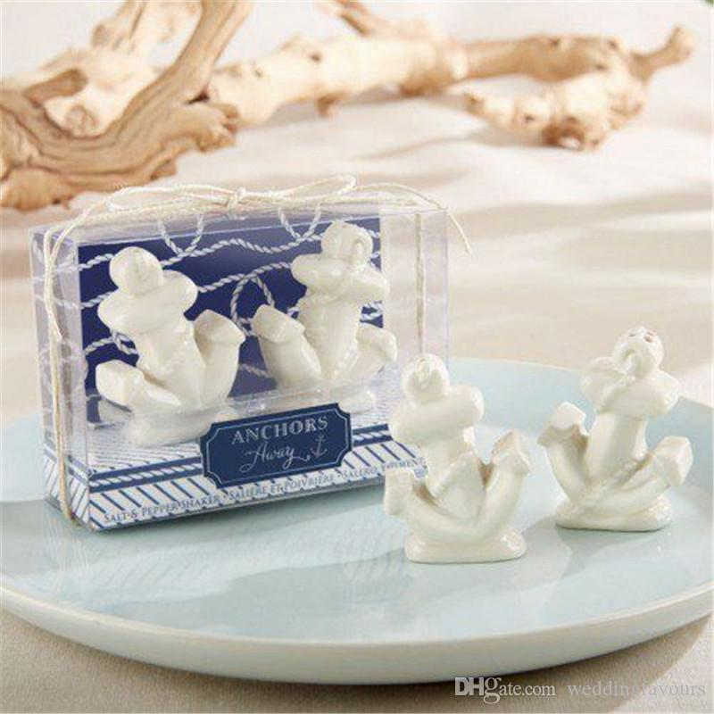 50 Sets Anchors Away Ceramic Anchor Salt and Pepper Shakers Party Giveaways Nautical Themed Wedding Favors