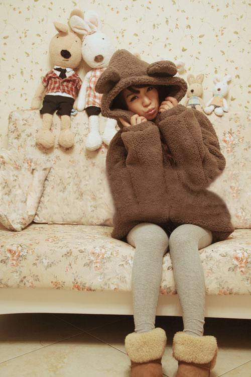 2017 lose Fluffy Bear Ohr Hoodie Kapuzenjacke Warme Oberbekleidung Mantel Casual Kawaii Panda Hoodie Sweatshirt Frauen