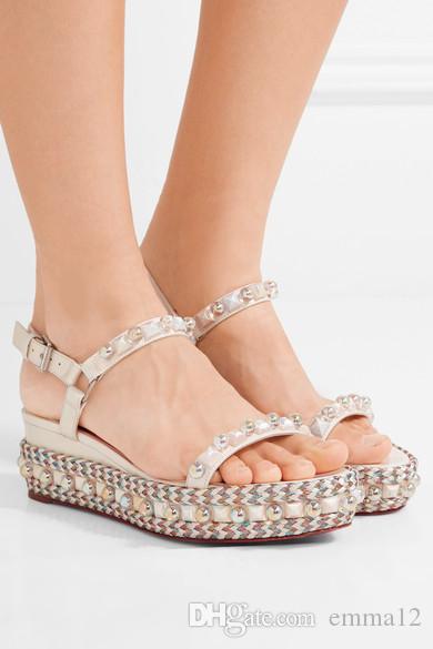 nuovi arrivi metallici in pelle con perline corda piattaforma sandali scarpe open toe fibbia cinturino con zeppa scarpe sandali donna