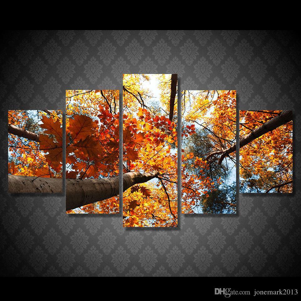 5 Adet / takım Çerçeveli HD Baskılı Altın Yapraklar Ağaç Resim Duvar Sanatı Tuval Baskı Dekor Posteri Tuval Yağlıboya