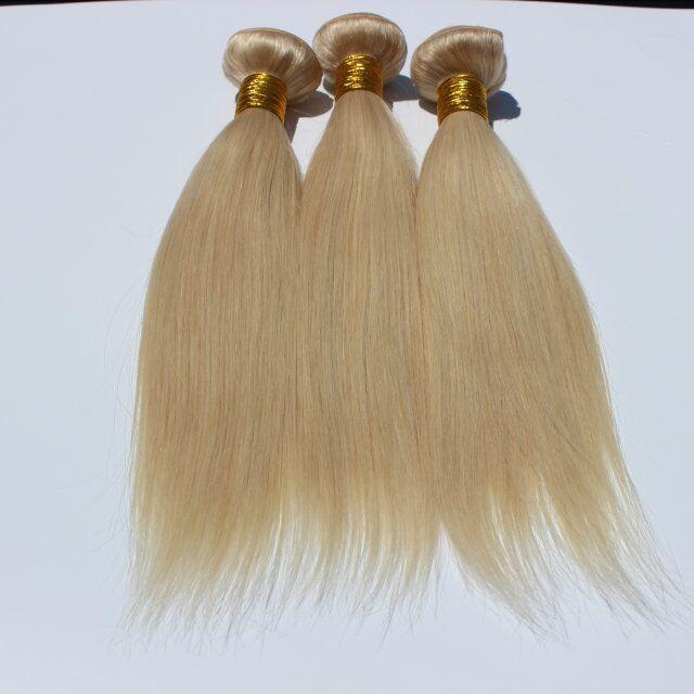 Bundles brasiliani diritti dei capelli umani Estensione non trattata diritta dei capelli umani 613 # fasci del tessuto dei capelli diritti biondi brasiliani