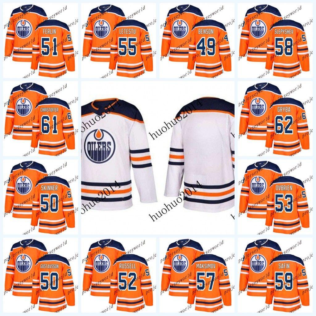 Juventude de Edmonton Oilers 2017-2018 Camisas Temporada 49 Tyler Benson 50 Jonas Gustavsson 50 Stuart Skinner 51 Brian Ferlin Hóquei Jersey